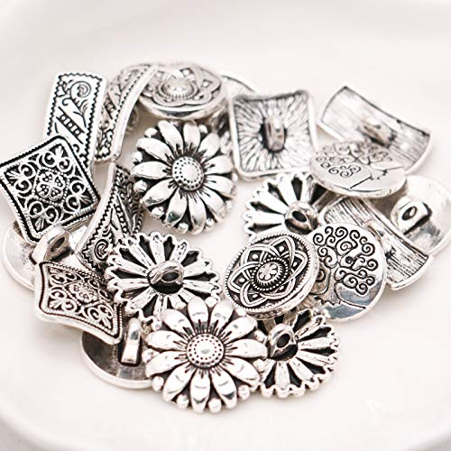 Metal Buttons Flower (Timoo 50 PCS Metal Buttons for Sewing, Antique Silver Color Flower Decorative Metal Buttons)