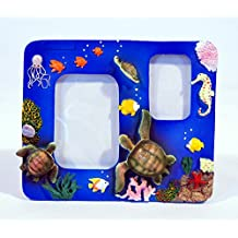 """Hand Painted Under Water World Sea Turtle Sea Horse Tropical Fish Photo Frame 5.5 x 4.5"""", Holds 3"""" & 2"""" Photos"""