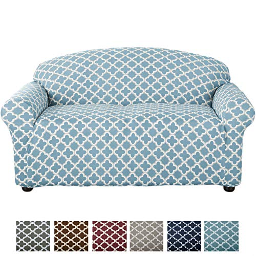 Home Fashion Designs Form Fit, Slip Resistant, Stylish Furniture Cover/Protector Featuring Lightweight Stretch Twill Fabric. Brenna Collection Basic Strapless Slipcover (Loveseat, Sky Blue)