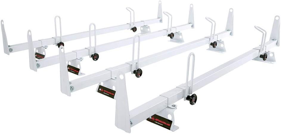 AA-Racks Model X202-PR RAM ProMaster 2013-On Heavy Gauge Steel 4 Bar Van Roof Rack System w//Ladder Stopper White