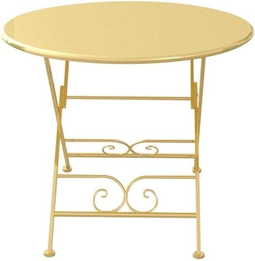 Sólido Pequeña Mesa de café Mesa Plegable Redonda de Oro Mesa de ...
