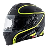 TORC Unisex-Adult Full-face Style T28B Bluetooth Integrated Motorcycle Helmet With Graphic Matte Black Hiviz Yellow MEDIUM