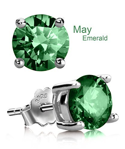 UHIBROS Sterling Silver Birthstone Stud Earrings Round Cubic Zirconia Diamond May - Green Stud Earring Box