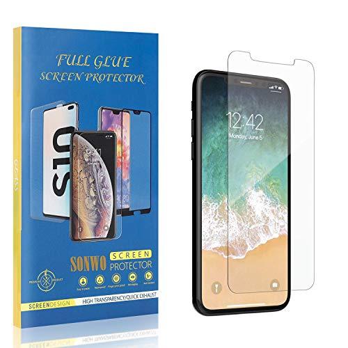 Panzerglas und Handyhülle für iPhone 11 Pro, SONWO Schutzfolie Kratzenfest Ölbeständig und Blasenfrei Handy Shutzfolie für iPhone 11 Pro, 1 Stück