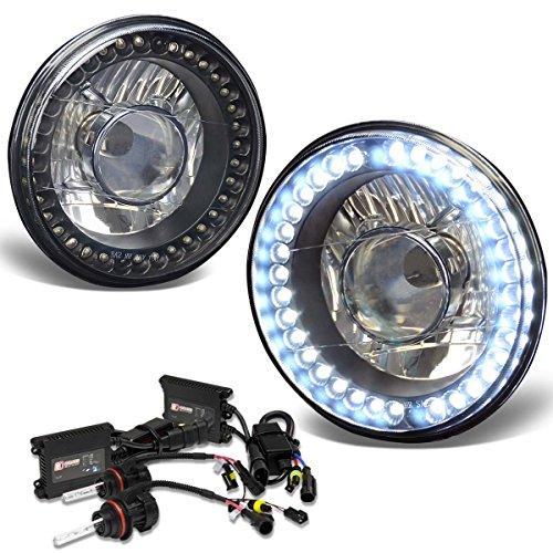 7X7 Inch Round Projector LED Headlight (Black Housing)+6000K HID+Slim Ballasts
