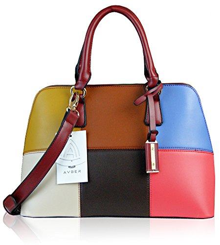 Avber Womens Fashion Western Style Contrast Color Stiching Handbag Shoulder Bag Wine-red