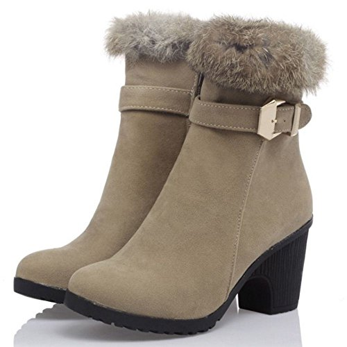 COOLCEPT Women Fashion Block High Heels Artificial Fur Lined Party Ankle Boots Ivory M6TzJ80hzi