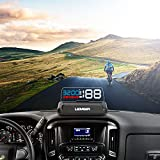 Head-Up Display, LEMSIR Car HUD Speedometer OBD II/EUOBD Interface with Foldable Display Board, Digital HD LED Projector Display Speed MPH Driving Reminder Alarm Light Sensor