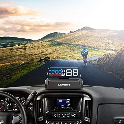 Head-Up Display, LEMSIR Car HUD Speedometer OBD II/EUOBD Interface with Foldable Display Board, Digital HD LED Projector Display Speed MPH Driving Reminder Alarm Light Sensor