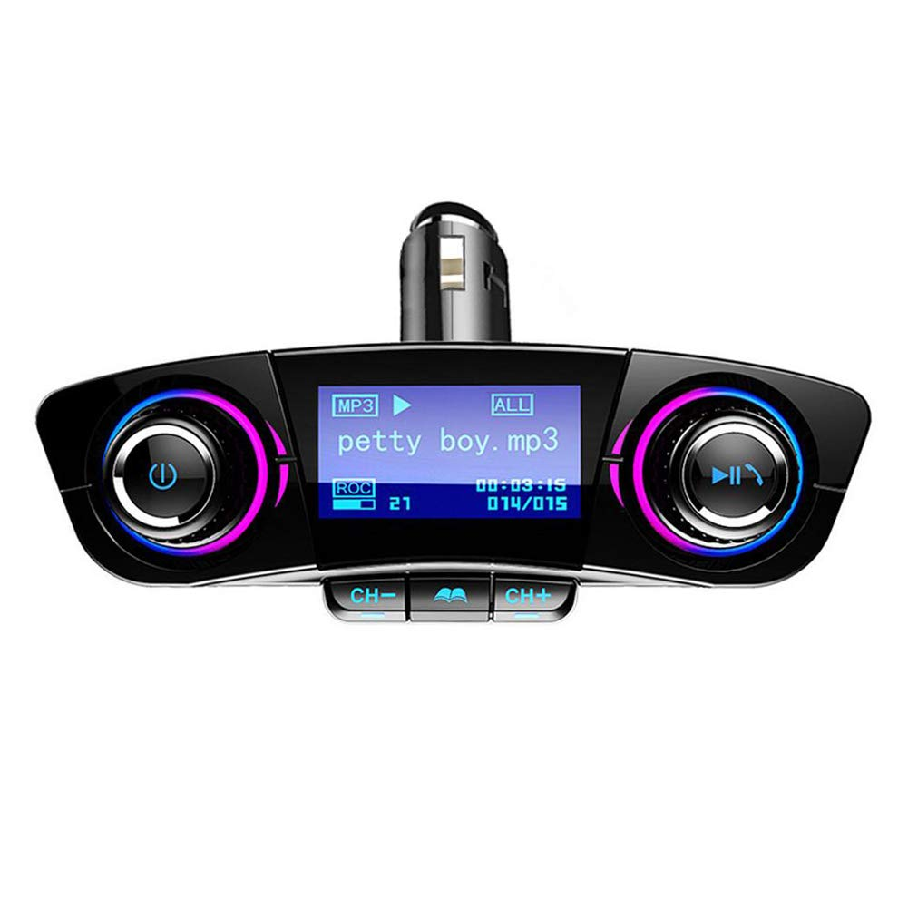 Bluetooth FM Transmitter Handfrees-Calling Radio Adapter Car Kit with Dual USB Charger MP3 Player Support TF Card USB Flash Drive