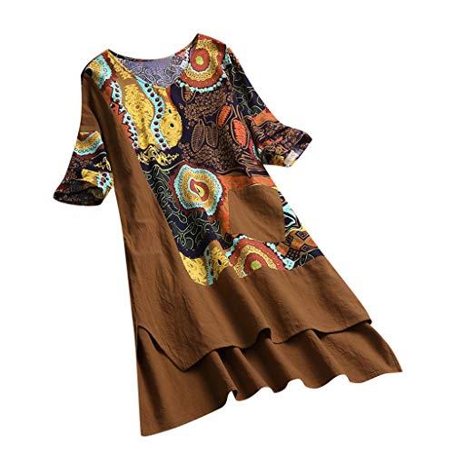 Women Vintage Dress,KIKOY High Low Hem Boho Print 3/4 Sleeves Casual Cozy Dress Khaki