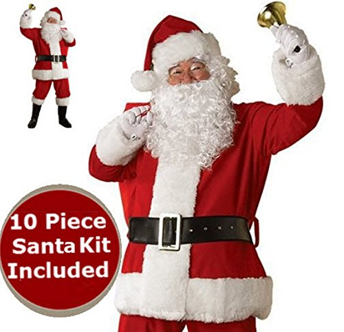 Santa Costume – Red Plush Deluxe Complete 10 Piece Kit - Santa Suit -
