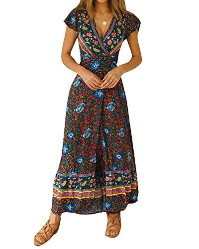 Crossover Front Dress - Unifizz Womens Summer Bohemian Print Wrap V Neck Split Beach Casual Maxi Dresses Short Sleeve Party Midi Dress (Pattern_E, S)