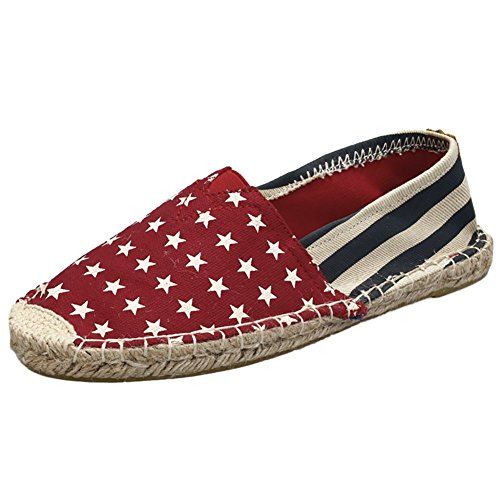 Slip Classic Flats on Shoes Daily Casual Stars Red Women's QZUnique Canvas wqBOEXFq