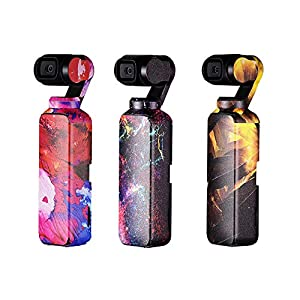 For DJI OSMO Pocket Drone PVC Stickers, PGY 3PC Cool Color Skin Waterproof Sunproof Stickers Set Body Decals Stickers, Easy to Paste and Tear Off Random 51ANARmOszL