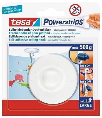tesa Powerstrips Deckenhaken / Drehbarer Haken aus hochwertigem Kunststoff zum Kleben / Bis 0,5kg / Rüchkstandslos entfernbar