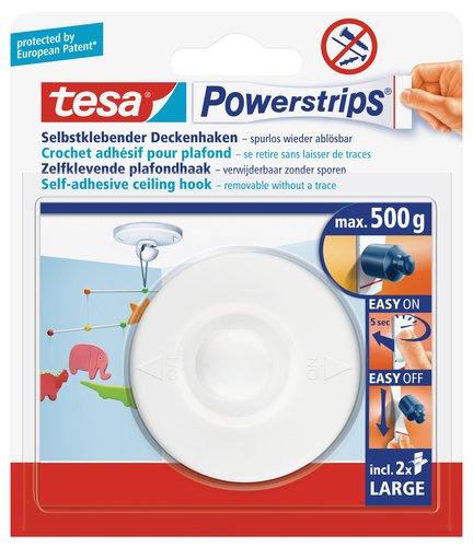tesa UK Powerstrips Ceiling Hook with Removable Adhesive Strips - White
