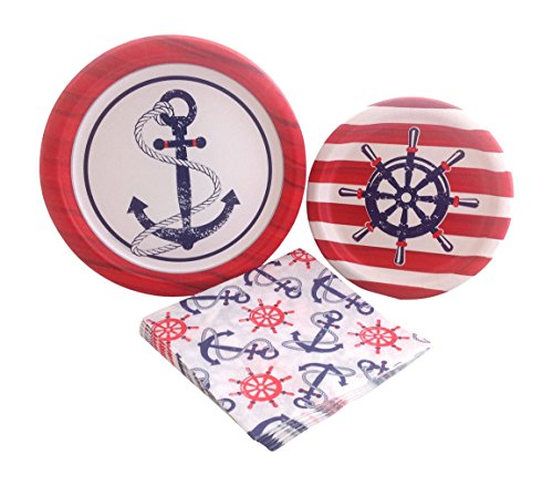 Anchors Away Nautical Party Supply Bundle with Paper Plates and Napkins for 8 Guests