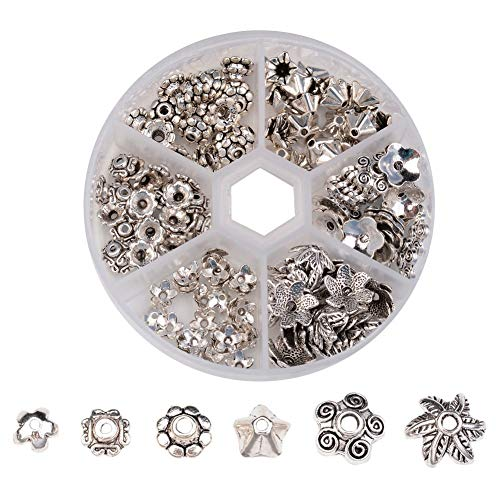 Pandahall 1Box/180pcs Tibetan Style Alloy Flower Petal Bead Caps Beads Spacers for Jewelry Makings 7~10mm in Diameter Antique Silver -