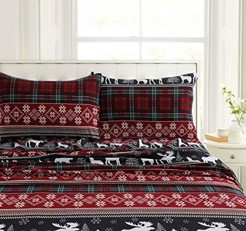 Tribeca Living HOLPLAIDSHCK Deep Pocket Sheet Set Cal King Holiday Plaid - Holiday Flannel Sheets