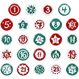 GWHOLE Christmas Advent Calendar 1-24 Numbers Buttons for Christmas Countdown Calendar Making, Style 2