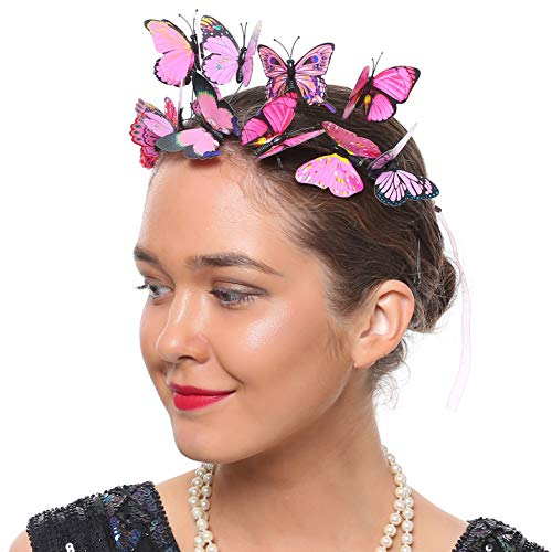 Coucoland Fascinator Headband Butterfly Mesh Ribbon Headband Festival Costume Wedding Tea Party Hair Accessory for Women (Nude Pink Ribbon) ()