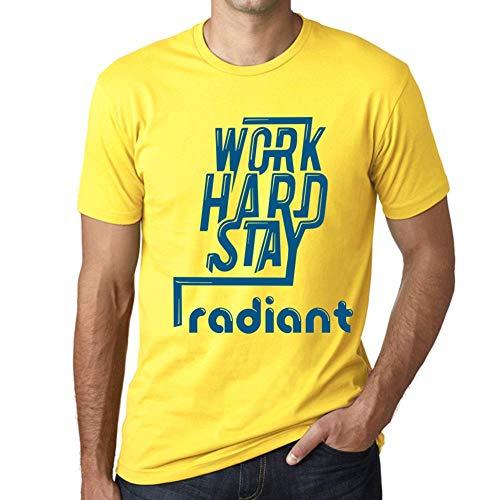 Men's Vintage Tee Shirt Graphic T Shirt Work Hard Stay Radiant Yellow ()