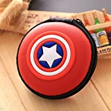 Shopkooky Avenger Printed Designer Attractive Silicon Round Zipper Earphone Case | Headphones Cable Earbuds Wire Storage Box | Jewelry Organizer Protector Pouch Bag | Return Gift | Birthday Gifts Online