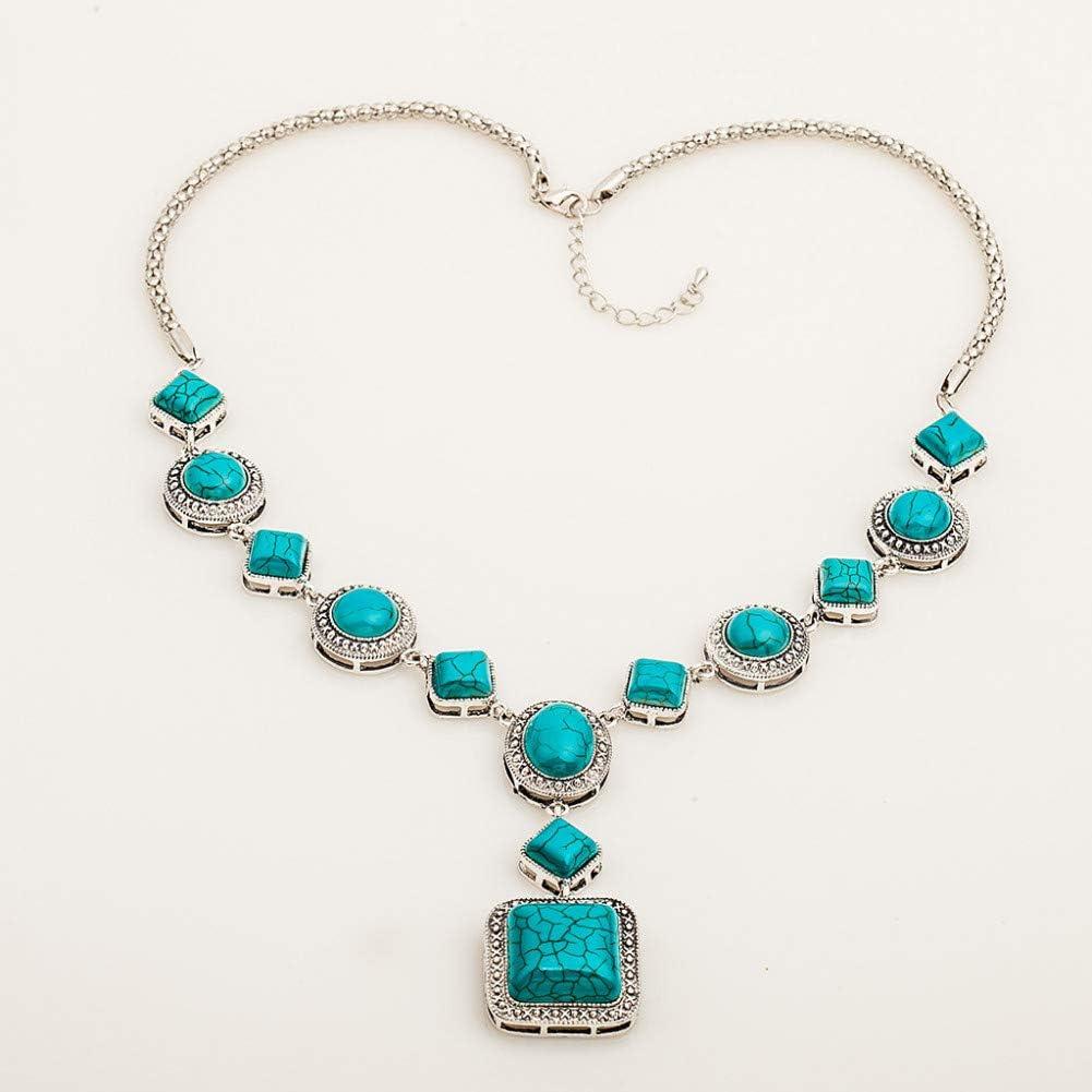 XLHJK Joyería Colgantes Collares Colgante For Joyería Comercial Collar Turquesa Diamante Modelo geométrico Circular Collar de Oro