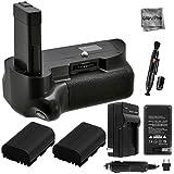 Battery Grip Bundle F/ Nikon D5100, D5200, D5300: Includes Vertical Replacement Grip, 2-Pk EN-EL14a Replacement Long-Life Batteries, Charger, UltraPro Accessory Bundle