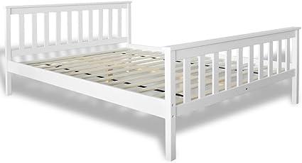 vidaXL Cama Blanca de Madera Maciza de Pino, 200 x 140 cm Mueble de Casa Somier