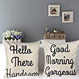 Onker Cotton Linen Square Decorative Throw Pillow Case Cushion Cover 18'' x 18'' Set of 2 Hello There Handsome and Good Morning Gorgeous