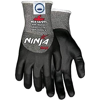 Ninja Max N9676GKD Work Gloves, 10 Gauge Dyneema Diamond Blend Shell, Black Foam Bi-Polymer Coating, Large