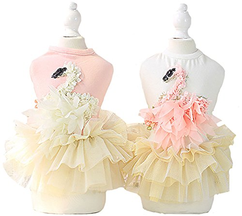 [MaruPet Fashion Sweet Puppy Dog Solid Swan Printed Princess Skirt Pet Dog Lace Cake Mesh Skirt Tutu Dress Pink] (Star Wars Dog Costumes Ewok)