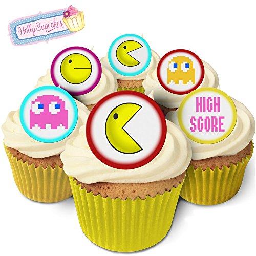 24 Fabulous Edible Pre-Cut Wafer Cake Toppers: Pac Man -