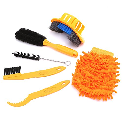 VSTM 6pcs/lot Bicycle Chain Cleaner Cycling Clean Tire Brushes Tool Kits Set Mountain Road Bike Cleaning Gloves Accessories