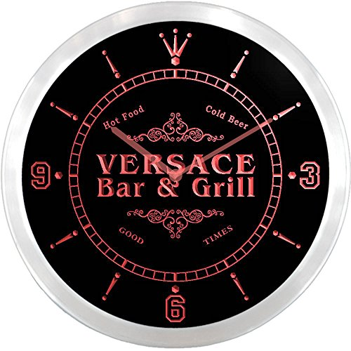 ncu46861-r VERSACE Family Name Bar & Grill Cold Beer Neon Sign LED Wall (Versace Clock)