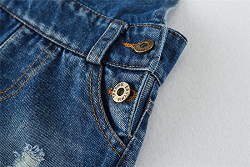 Chumhey Big&Little Girls 2Pc Big Bib Jeans Summer Shortalls Set T-Shirts,Blue,6-7 Years by Chumhey (Image #6)
