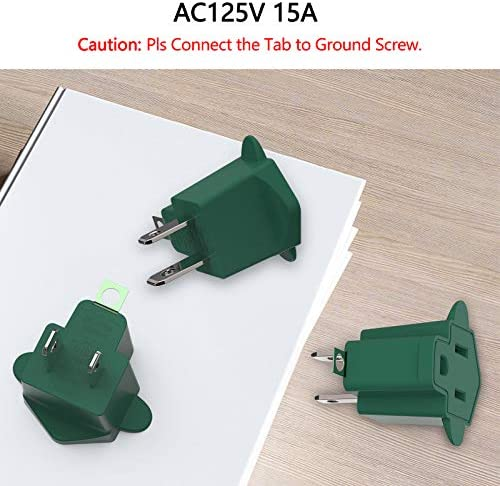 51AND%2BoiwmL. AC 3 Prong to 2 Prong Grounding Adapter Wall Outlet Converter, JACKYLED 2 Prong Power Adapter Fireproof Material 200℃ Resistant Heavy Duty for Household, Electrical, Indoor Use Only, Dark Green, 10 Pack    Product Description
