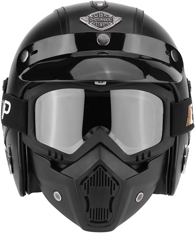 XL M optional L 61-62 cm Open Face Helmet with Removable Goggles and Mask for the Four Seasons Head Circumference 57-58 cm Zerone Motorcycle Half Helmet 59-60 cm