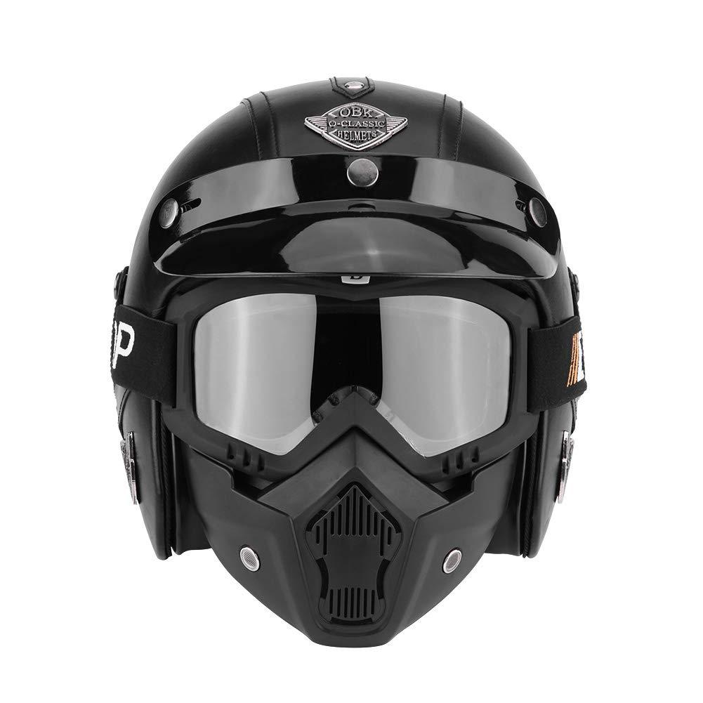 Zerone Motorrad Halber Helm L M Krokodil Braun, 57-58 cm 59-60 cm XL Open Face Helmet mit Abnehmbar Brille Und Maske f/ür die vier Jahreszeiten Kopfumfang 57-58 cm 61-62 cm M optional