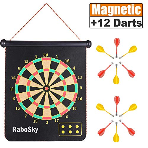 Magnetic Dart Board with 12pcs Dart Flights for Kids and Adults, Rabosky Double Sided Hanging Roll Up DartBoard Set, Office Home Outdoor Board Games, Cool Toy Gift for Boys ()