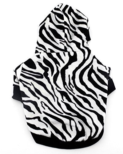 smalllee_lucky_store Pet Cat Dog Christmas Clothes Hoodie Hooded Zebra Costume Sweaters Coat Small Dog Clothes S