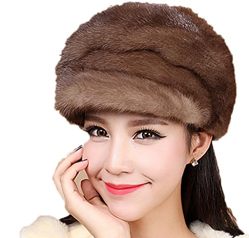 YR Lover Women's Warm Mink Fur Peaked Cap Fashion Beret Hat