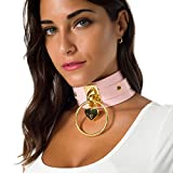 Handmade Heart Padlock Wide Choker Necklace for Women Fetish Leather Collar Jewelry