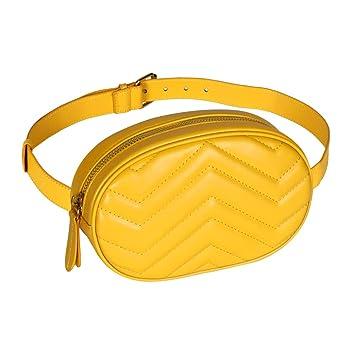 Geestock Damen Taillentaschen wasserdichte PU Leder Gürteltasche Fanny Pack Crossbody Bauchtasche für Party, Reisen, Wandern (schwarz) Gelb gelb Größe