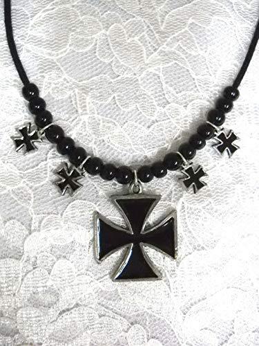 New Iron Cross Pendant 4 Maltese Cross Charms Black Bead ADJ Necklace KEZ-1771