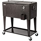 VINGLI 80 Quart Rolling Ice Chest on Wheels, Portable Patio Party Bar Drink Cooler Cart, with Shelf, Beverage Pool with Bottle Opener and Cover (Rattan)