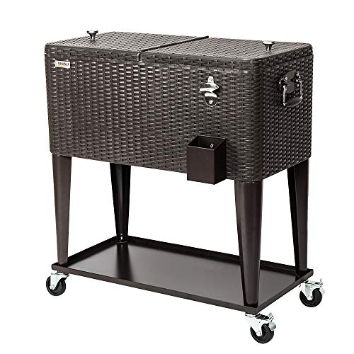 VINGLI 80 Quart Rolling Ice Chest on Wheels, Portable Patio Party Bar Drink Cooler Cart, with Shelf, Beverage Pool with Bottle Opener,Water Pipe and Cover (Rattan) ()