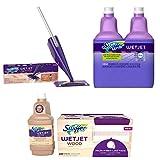 Bundle: Swiffer WetJet Wood Floor Mopping & Cleaning Starter Kit + Swiffer WetJet Wood Floor Mopping and Cleaning Refill Bundle 20 Pads, 1 Cleaning Solution + Lavender Vanilla & Comfort Scent, 2 Pack